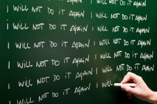I will not do it again written on chalkboard